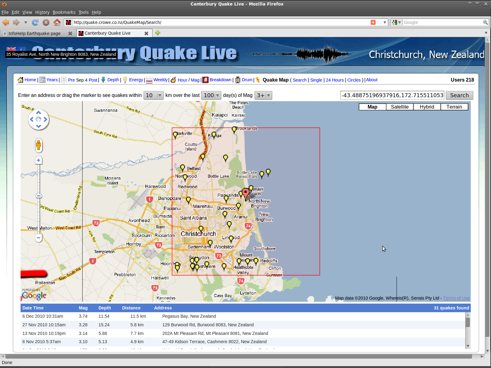 New Brighton fault trace by Sep-Dec2010 Mag 3+ quakes
