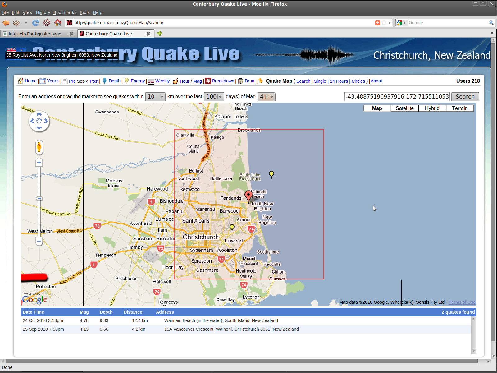 New Brighton fault trace by Sep-Dec2010 Mag 4 quakes
