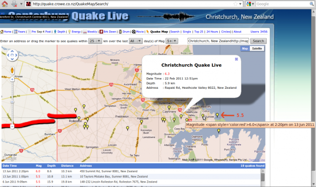 Crowe.co.nz Lyttelton area magnitude 5 & larger earthquakes to 140611