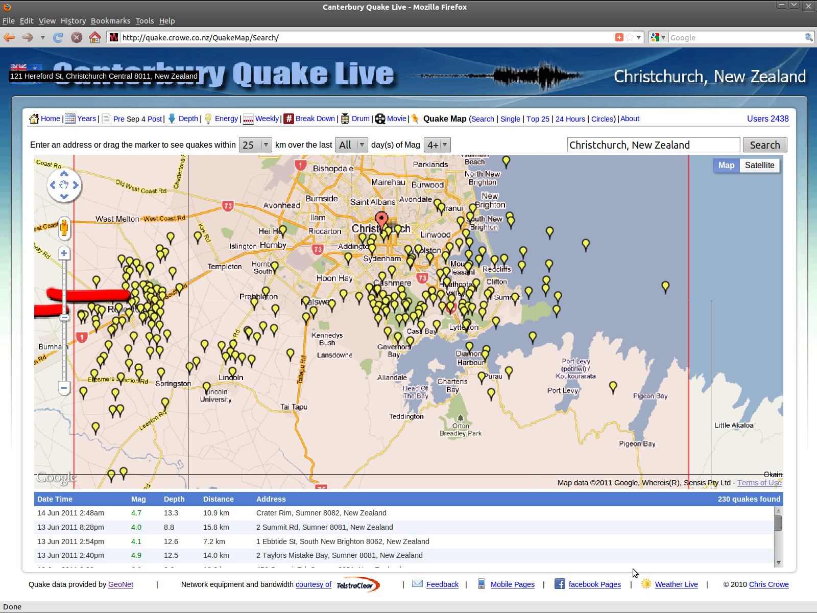 Crowe.co.nz Lyttelton area magnitude 4 & larger earthquakes to 140611
