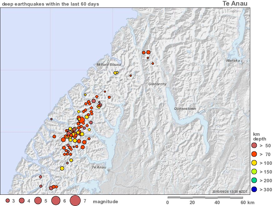 Te Anau 60-day swarm map to 280910